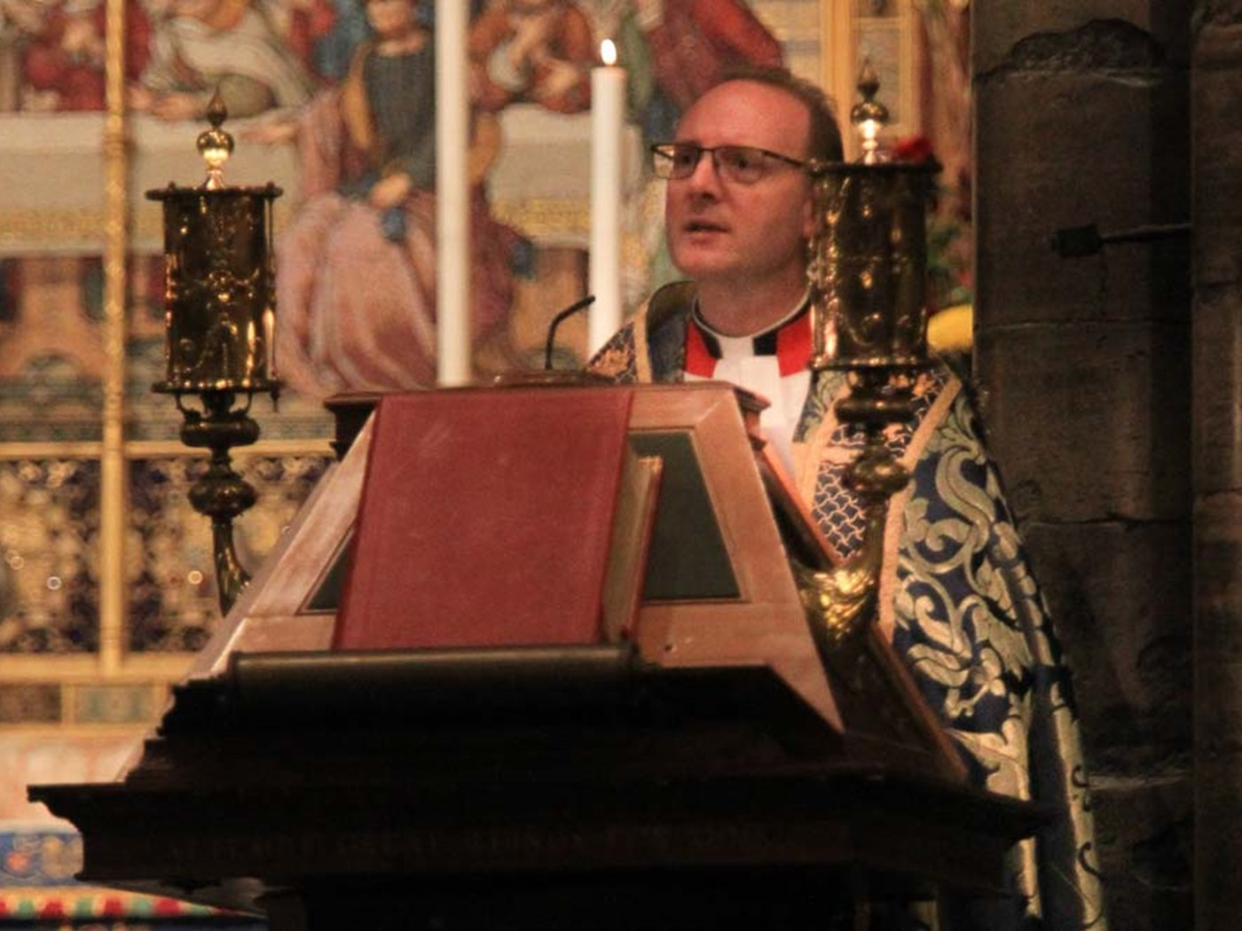 The Reverend Anthony Ball, Canon in Residence, and Co-Chair, The Council of Christians and Jews (Central London Branch), reads St Matthew 5: 1–10